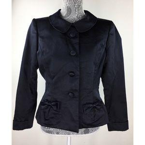 Oscar de la Renta M Black Satin Jacket Formal